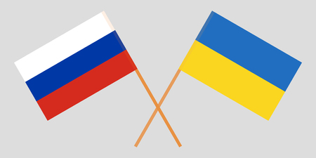 Crossed flags Ukraine and Russia. Official colors. Correct proportion. Vector illustration