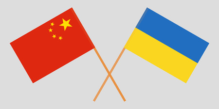 Crossed flags Ukraine and China. Official colors. Correct proportion. Vector illustration  イラスト・ベクター素材