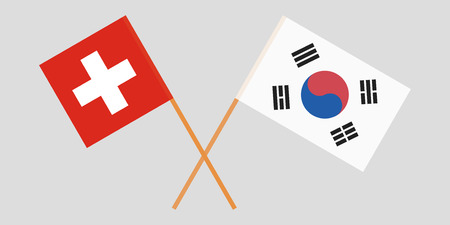 Crossed flags South Korea and Switzerland. Official colors. Correct proportion. Vector illustration