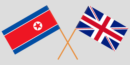 The crossed UK and North Korea flags. Official colors. Vector illustration Stock Illustratie