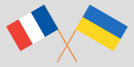 Crossed flags Ukraine and France. Official colors. Correct proportion. Vector illustration Çizim