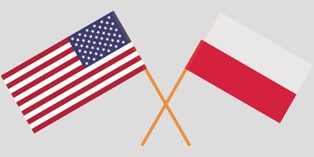 Polska i USA. Skrzyżowane flagi Polski i Stanów Zjednoczonych. Oficjalne kolory. Prawidłowa proporcja. Ilustracja wektorowa
