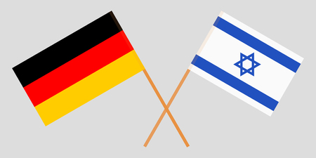 Crossed flags  Israel and Germany. Official colors. Correct proportion. Vector illustration