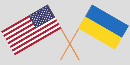 Crossed flags Ukraine and USA. Official colors. Correct proportion. Vector illustration