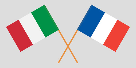 The crossed France and Italy flags. Official colors. Proportion correctly. Vector illustration Illusztráció