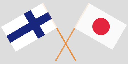 The crossed Japan and Finland flags. Official colors. Vector illustration