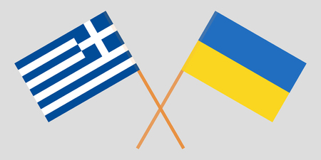 Greece and Ukraine. Crossed Greek and Ukrainian flags. Official colors. Correct proportion. Vector illustration