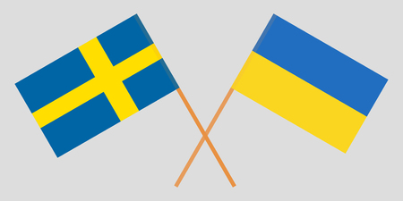 Crossed flags Ukraine and Sweden. Official colors. Correct proportion. Vector illustration Çizim