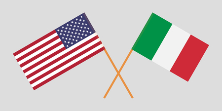 Crossed flags USA and Italy. Official colors. Correct proportion. Vector illustration