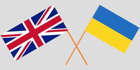 Crossed flags Ukraine and UK. Official colors. Correct proportion. Vector illustration