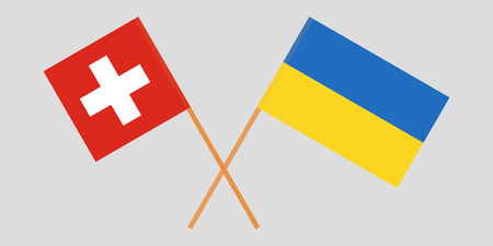 Crossed flags Ukraine and Switzerland. Official colors. Correct proportion. Vector illustration