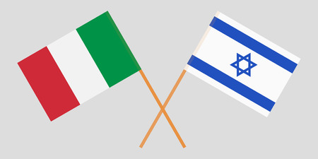 Crossed flags Israel and Italy. Official colors. Correct proportion. Vector illustration