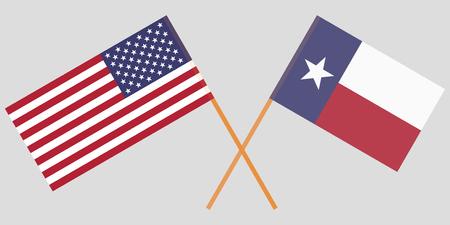 Bandiere incrociate di Stati Uniti e stato del Texas. Colori ufficiali. Proporzione corretta. Illustrazione vettoriale Vettoriali