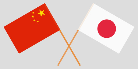 The crossed Japan and China flags. Official colors. Vector illustration