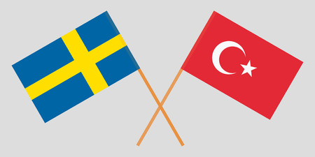 The crossed Turkey and Sweden flags. Official colors. Vector illustration
