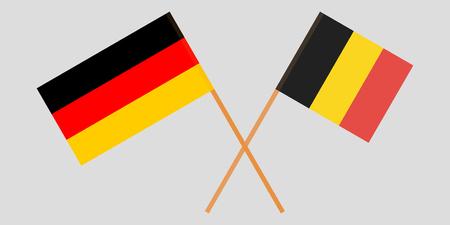 De gekruiste vlaggen van België en Duitsland. Officiële kleuren. Vector illustratie Vector Illustratie