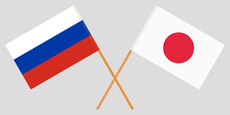 The crossed Japan and Russia flags. Official colors. Vector illustration