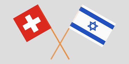 Crossed flags  Israel and Switzerland. Official colors. Correct proportion. Vector illustration Stock Illustratie