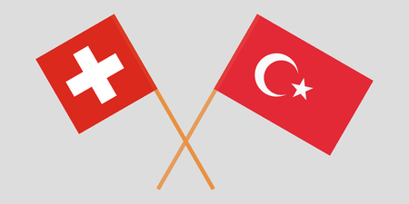 The crossed Turkey and Switzerland flags. Official colors. Vector illustration