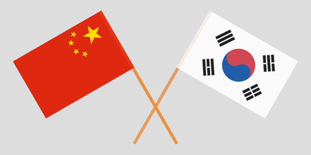 Crossed flags South Korea and China. Official colors. Correct proportion. Vector illustration Archivio Fotografico - 110089835