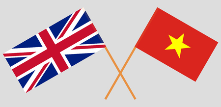 Socialist Republic of Vietnam and UK. The Vietnamese and British flags. Official colors. Correct proportion. Vector illustration