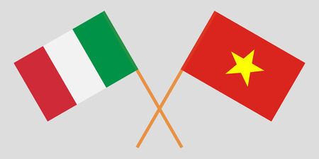 Socialist Republic of Vietnam and Italy. The Vietnamese and Italian flags. Official colors. Correct proportion. Vector illustration