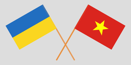 Socialist Republic of Vietnam and Ukraine. The Vietnamese and Ukrainian flags. Official colors. Correct proportion. Vector illustration  イラスト・ベクター素材