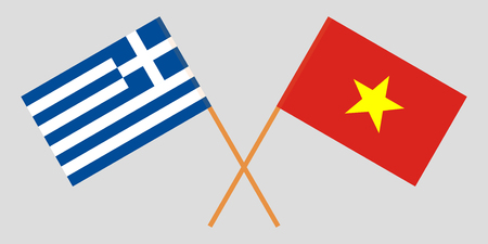 Socialist Republic of Vietnam and Greece. The Vietnamese and Greek flags. Official colors. Correct proportion. Vector illustration
