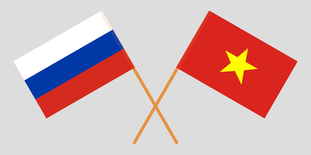 Socialist Republic of Vietnam and Russia. The Vietnamese and Russian flags. Official colors. Correct proportion. Vector illustration  イラスト・ベクター素材