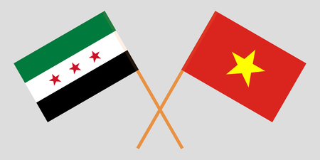 Socialist Republic of Vietnam and Syria opposition. The Vietnamese and Syrian flags. Official colors. Correct proportion. Vector illustration  イラスト・ベクター素材