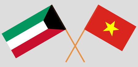 Socialist Republic of Vietnam and Kuwait opposition. The Vietnamese and Kuwaiti flags. Official colors. Correct proportion. Vector illustration