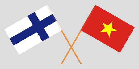 Socialist Republic of Vietnam and Finland. The Vietnamese and Finnish flags. Official colors. Correct proportion. Vector illustration