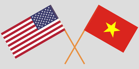 Socialist Republic of Vietnam and USA. The Vietnamese and American flags. Official colors. Correct proportion. Vector illustration  イラスト・ベクター素材