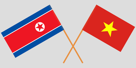 Socialist Republic of Vietnam and North Korea. The Vietnamese and Korean flags. Official colors. Correct proportion. Vector illustration Illusztráció