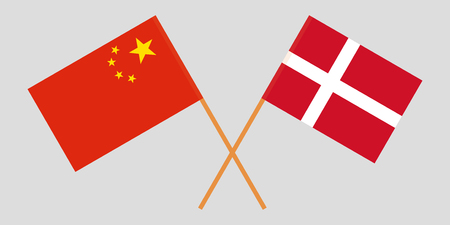 China and Denmark. Chinese and Danish flags. Official colors. Correct proportion. Vector illustration Ilustrace