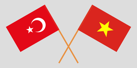 Socialist Republic of Vietnam and Turkey. The Vietnamese and Turkish flags. Official colors. Correct proportion. Vector illustration