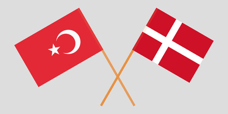 Turkey and Denmark. Turkish and Danish flags. Official colors. Correct proportion. Vector illustration 向量圖像