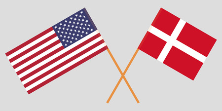 USA and Denmark. American and Danish flags. Official colors. Correct proportion. Vector illustration