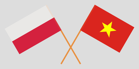 Socialist Republic of Vietnam and Poland. The Vietnamese and Polish flags. Official colors. Correct proportion. Vector illustration
