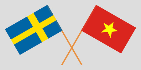 Socialist Republic of Vietnam and Sweden. The Vietnamese and Swedish flags. Official colors. Correct proportion. Vector illustration