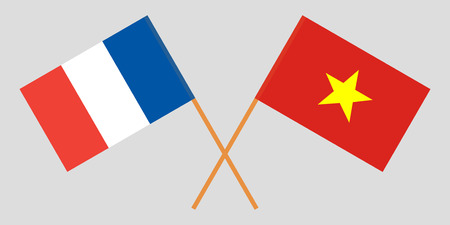 Socialist Republic of Vietnam and France. The Vietnamese and French flags. Official colors. Correct proportion. Vector illustration