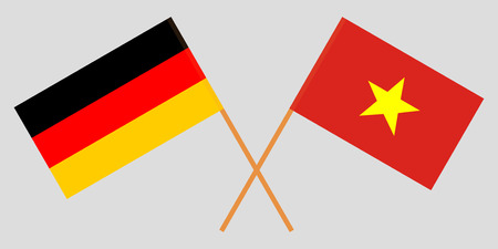 Socialist Republic of Vietnam and Germany. The Vietnamese and German flags. Official colors. Correct proportion. Vector illustration