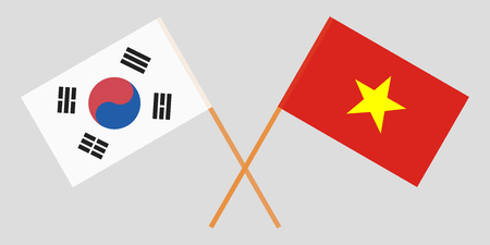 Socialist Republic of Vietnam and South Korea. The Vietnamese and Korean flags. Official colors. Correct proportion. Vector illustration
