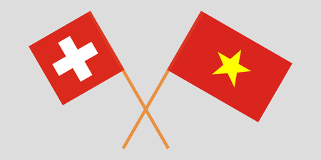 Socialist Republic of Vietnam and Switzerland. The Vietnamese and Swiss flags. Official colors. Correct proportion. Vector illustration  イラスト・ベクター素材