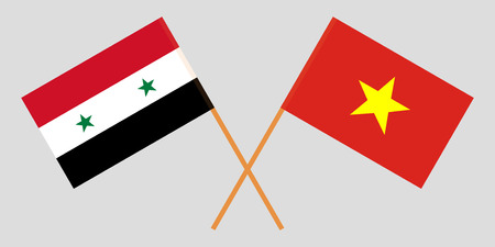 Socialist Republic of Vietnam and Syria. The Vietnamese and Syrian flags. Official colors. Correct proportion. Vector illustration