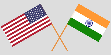 USA and India. American and Indian flags. Official colors. Correct proportion. Vector illustration
