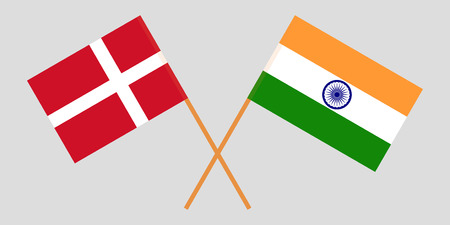 Denmark and India. Danish and Indian flags. Official colors. Correct proportion. Vector illustration
