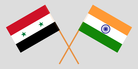 Syria and India. Syrian and Indian flags. Official colors. Correct proportion. Vector illustration