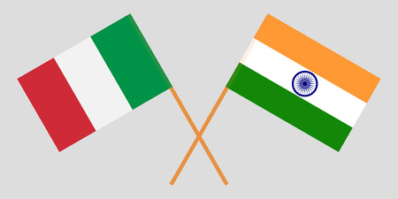 Italy and India. Italian and Indian flags. Official colors. Correct proportion. Vector illustration Stock Illustratie