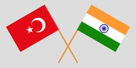 Turkey and India. Turkish and Indian flags. Official colors. Correct proportion. Vector illustration